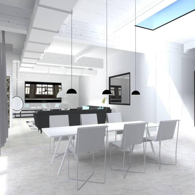 ciekawe rozwiązanie wysokiego pomieszczenia...lampy