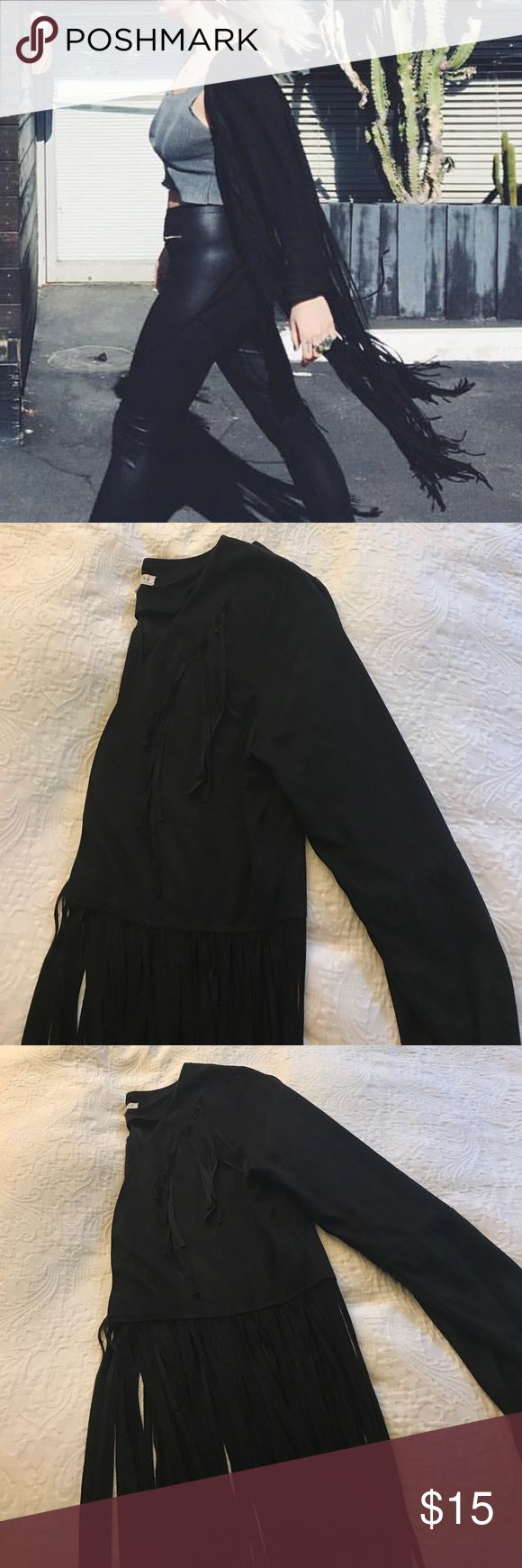 Black Long Fringe Suede Jacket Only worn once, soft suede lightweight jacket! Perfect for accessorizing an afternoon or evening outfit! Fits a size Small, Medium & Large! Xoxo Loveriche Jackets & Coats Capes