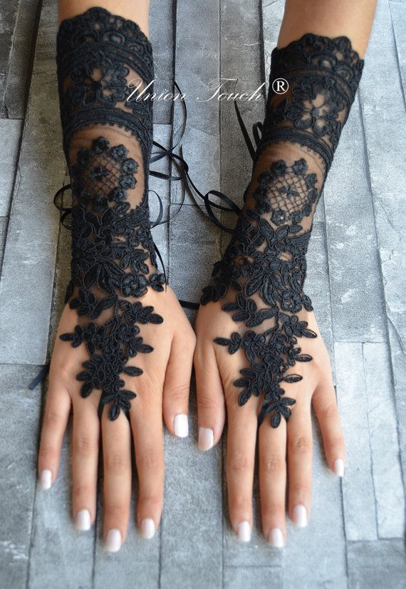 free ship goth gothic black wedding gloves bridal gloves fingerless gloves…