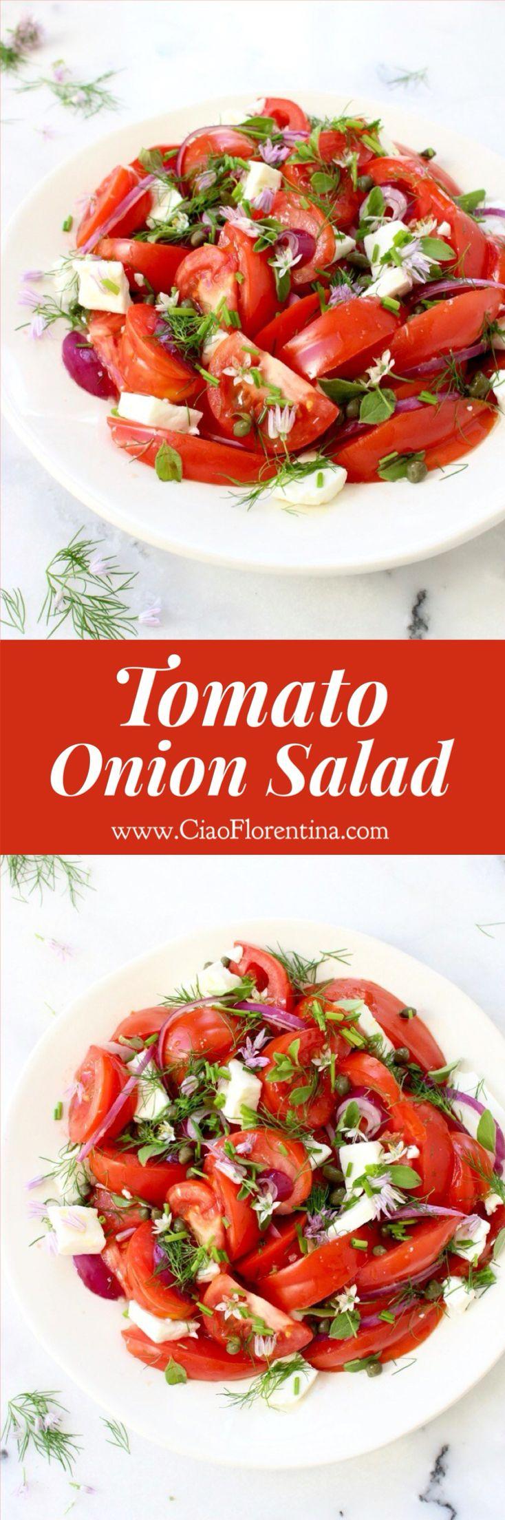 Tomato Onion Salad Recipe with Feta Cheese and Fresh Herbs ( Mediterranean Salad )   CiaoFlorentina.com @CiaoFlorentina