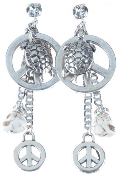 06313, oorbellen, silver, peace, charms, skulls, rock, baby, rock, silver, swarovski Deze oorbellen hebben verschillende bedels en zijn verzilverd. De bedels bestaan uit een schildpad, vredesteken en doodshoofd. Deze oorbellen hebben een bijpassende ketting en armband.