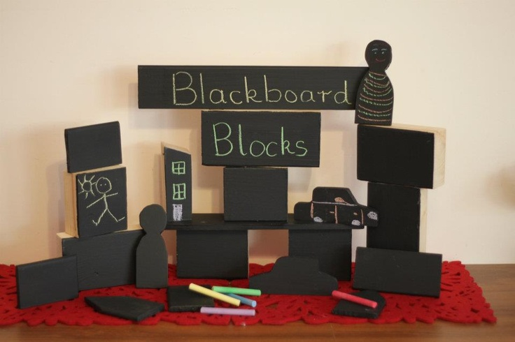 Blackboard paint on blocks - could do this to my large scale blocks for outside