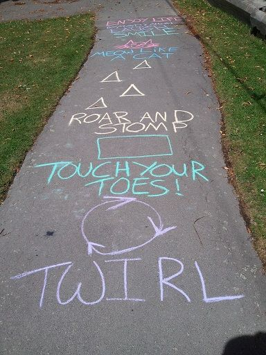 Outside play.  Fun with sidewalk chalk