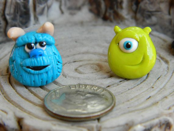 Sully and Mike from Monsters Inc studs by DaintyGeekery on Etsy, $7.00