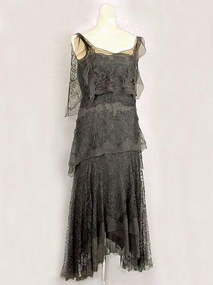 French hand beaded silk chiffon dress