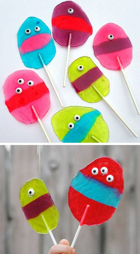 Monster Jolly Rancher Lollipops   Click Pic for 30 DIY Halloween Crafts for Kids to Make   DIY Halloween Craft Ideas for Kids