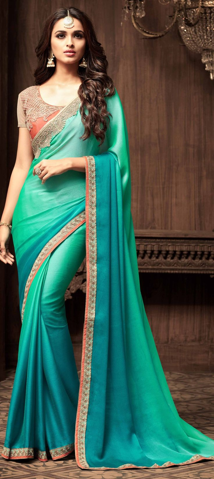 756176 Blue, Green color family Embroidered Sarees, Party Wear Sarees, Silk Sarees in Art Silk, Faux Chiffon fabric with Lace, Machine Embroidery, Thread work with matching unstitched blouse.