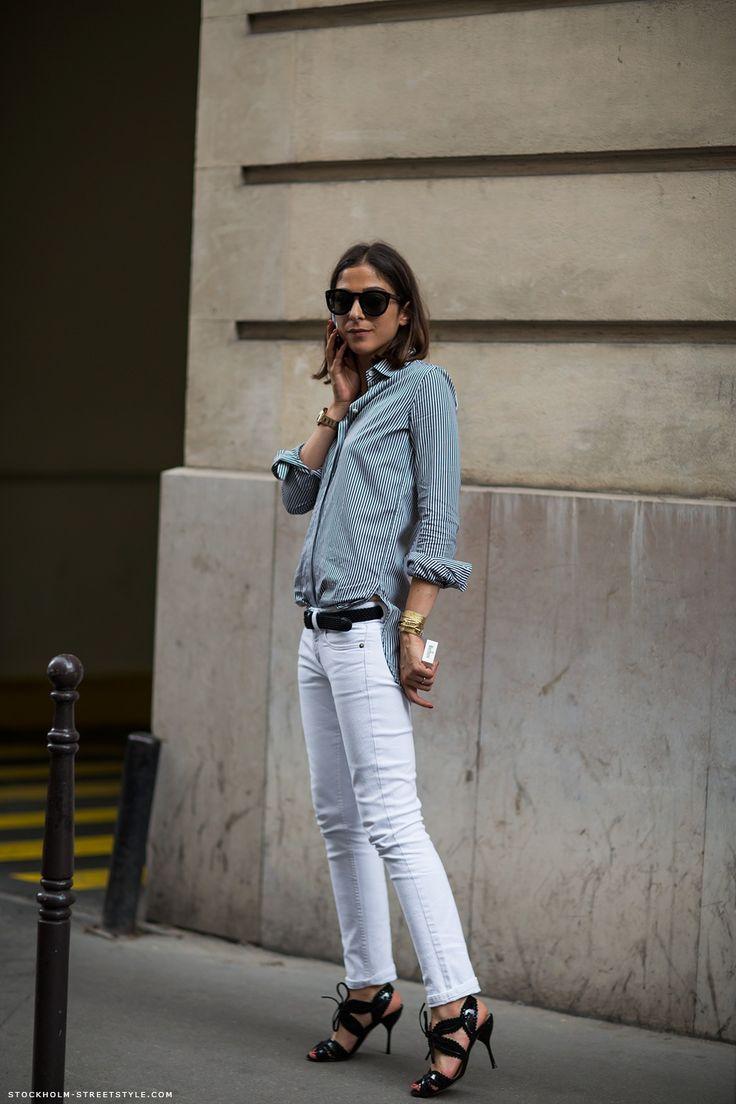 ·: White Skinny, White Denim, French Vogue, Style Inspiration, Street Style, White Pants, Black Heels, Capuchin Safyurtlu, White Jeans
