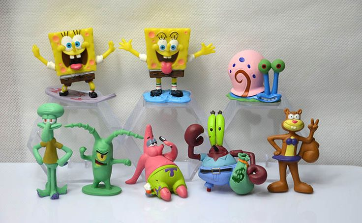 SpongeBob Patrick Star 8pcs/Set Dolls Western Animiation Cartoon Movie Peripherals Children Kids Toys Free Shipping