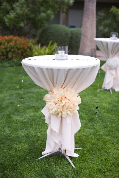 Cocktail Tables ● flower poms instead of ribbon sash