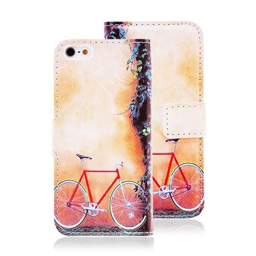 Happy Colorful iPhone Case Bicycle Leather Wallet for iPhone 5 5S #colorful #bycicle #leather #cases #iphone5 #wallet #covers