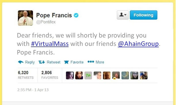As announced by his holiness Pope Francis on Twitter. BIG news from the Ahain Group. We've now become digital partners to the Vatican.