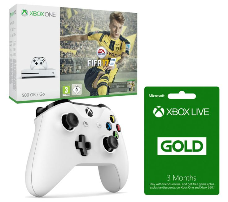 MICROSOFT  Xbox One S with FIFA 17 with Controller & 3 Months Xbox LIVE Gold Membership Bundle - 500 GB, Gold Price: £ 299.99 Settle down to some great gaming with the Microsoft Xbox One S with FIFA 17 & Xbox Wireless Controller Bundle . _____________________________________________________________ Microsoft Xbox One S with FIFA 17 The Xbox One S is an enhanced Xbox console 40% smaller and...