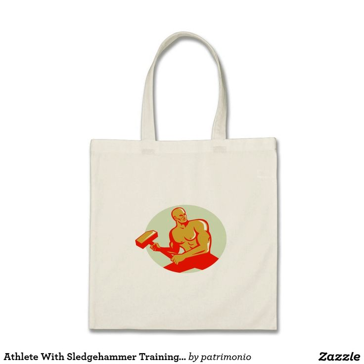 Athlete With Sledgehammer Training Oval Retro Tote Bag. Retro styled tote bag with an illustration of an athlete holding a sledgehammer in training looking to the side viewed from front set inside oval shape done in retro style. #weightlifting #olympics #sports #summergames #rio2016 #olympics2016