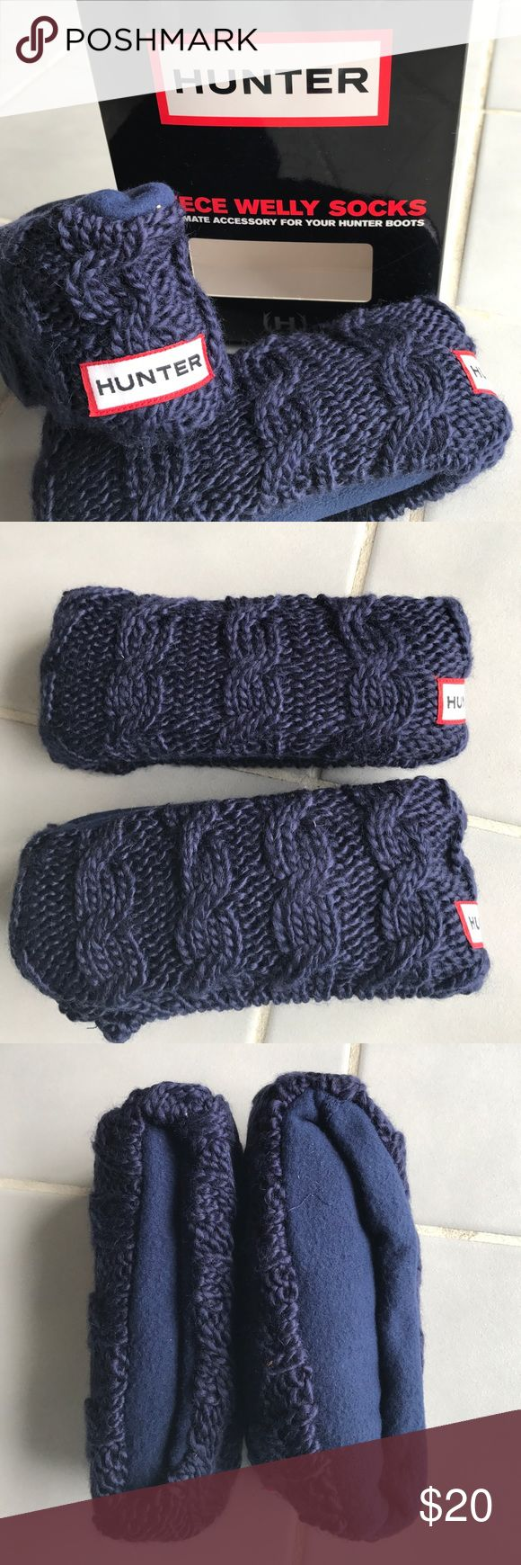 NWT Navy Hunter Fleece Welly Socks 💙 New in box! Hunter fleece Welly socks in the color navy. Cable knit cuff. Size Women's 8-10. Hunter Boots Accessories Hosiery & Socks