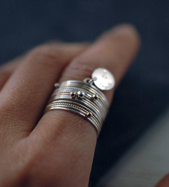 Espace 14 anneau d'empilement avec 14kt rose anneaux par Minicyn