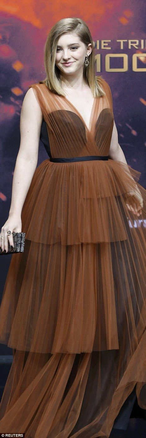Grown-up glam: Willow Shields, who plays Katniss' sister Prim, donned a tiered tulle numbe...