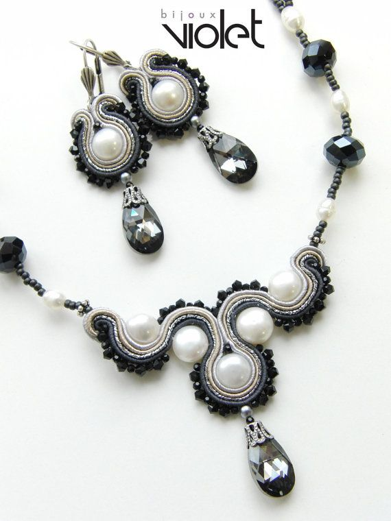 Soutache Necklace - Black Wave