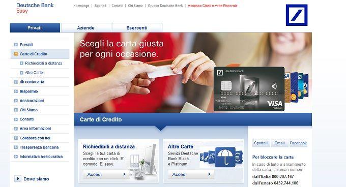 Carta di Credito Visa Deutsche Bank - Carta Cento per Cento