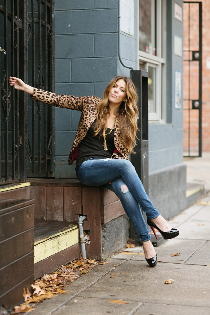 Hazel & Olive / Leopard Blazer, Black tee shirt, Distressed denim skinnies, Black patent Louboutins