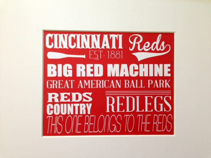 Cincinnati Reds Wall Art  Reds Baseball Sign by AntsyDesigns, $15.00