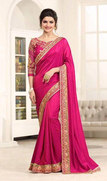 Prachi Desai Pink Color Satin Silk Embroidered Designer Saree