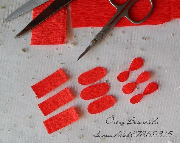 Цветочки из гофрированной бумаги своими руками на открытку