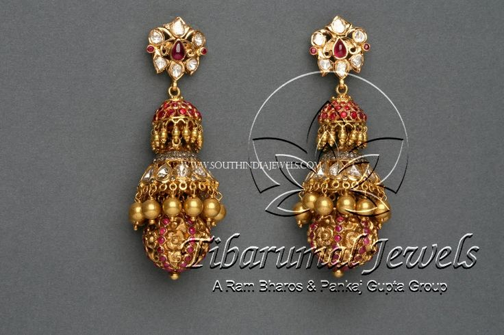Gold Diamond Ruby Jhumka Designs, Gold Jhumka Designs With Diamond and Rubies.