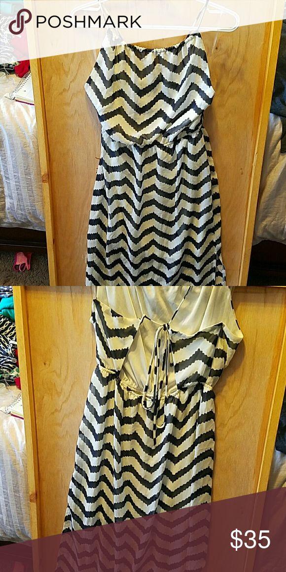 Blue and White Chevron MAXI dress with open back Maxi Dress with open back by Rachal Kata Rachal Kata Dresses Maxi
