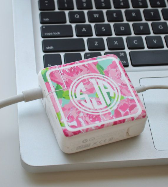 Lilly Pulitzer Vinyl Monogram MacBook Charger Wrap by TheGatorbug