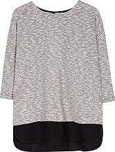 женская блузка, с рукавами 3/4, круглый вырез, удлиненная спинка, бежево-черные полосы