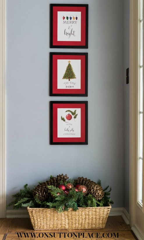 Free Christmas Printables   DIY Wall Art from onsuttonplace.com