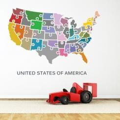 Map of The United States of America Mappa degli Stati Uniti d'America Wall Sticker Adesivo da Muro