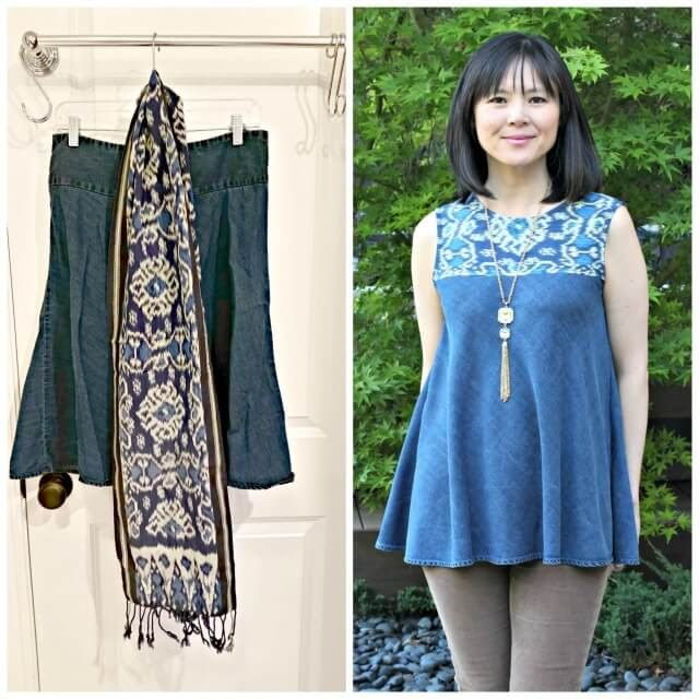 I fell in love with the ikat scarf I found at the thrift store for $1.  I don't really wear scarves, so I combined it with a denim skirt to make a boho swing tank top.  I cut the yoke from the scarf.