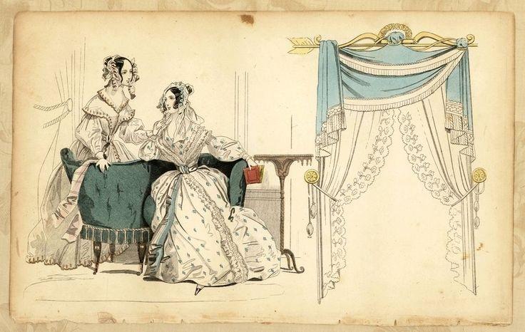 "Antique c1865 Book Plate Victorian Ladies Fashion Hand Tinted 9.5"" x 6"" #Victorian"