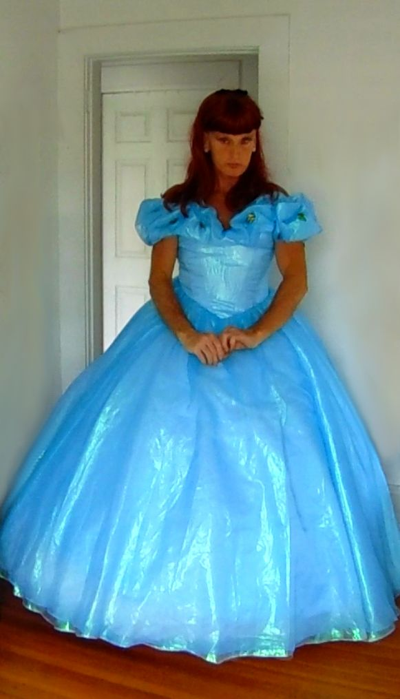 Tgirl Wearing Blue Ball Gown Inspired By 2015 Disney