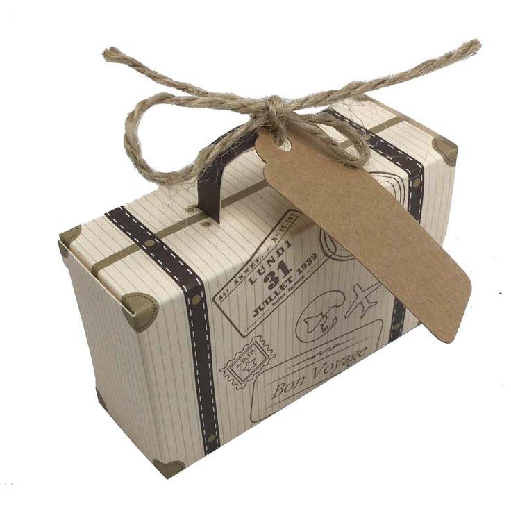50pcs Mini Suitcase Kraft Candy Box Bonbonniere Wedding Gift Bo Travel Themed Party For Anniversary Birthday Baby Shower