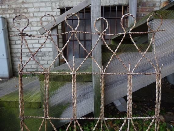 Vintage Wire Fence Panel Twisted Metal Gate Garden Home French Country Shabby Cottage Farmhouse Wire Fence Panels Wire Fence Fence Panels