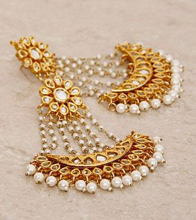 Golden & White Embellished Chand Bali Earrings