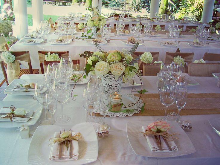 Puestos de mesa centros de mesa flores naturales yute - Centro de mesa rustico ...