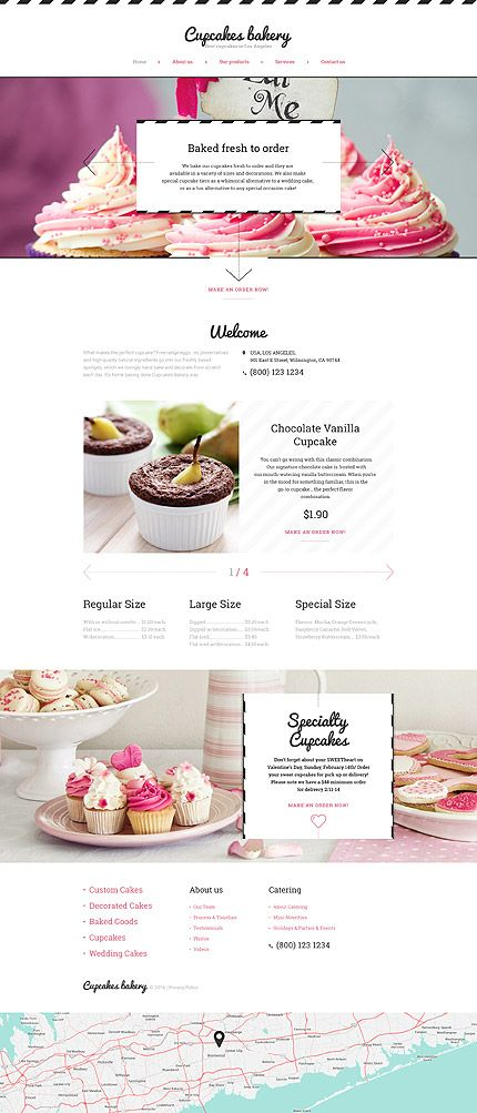 $69 Bakery Website Template #Cupcakes #Bakery is a #responsive Cake Shop…