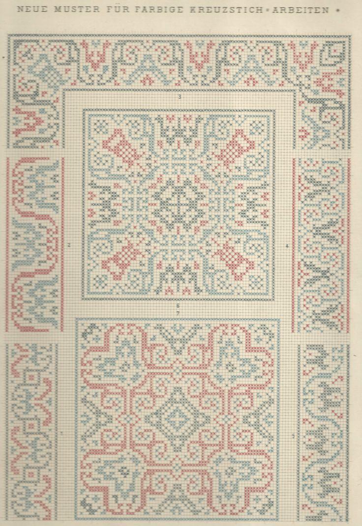 1 / Blatt 12 - Neue Muster-Vorlagen Fur Farbige Kreuzstich-Arbeiten - A. Scheffers - Published by J. M. Gebhardt's Verlag, Leopold Gebhardt, 1887