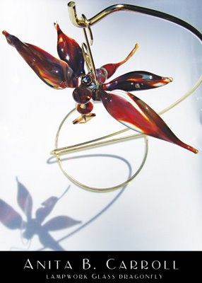 Dragonfly suncatcher.  Glass works by #Anita B. #Carroll  ♥ Facebook: Alvelys ♥ In store: #The #Garden #Party, Milford NH - US ♥