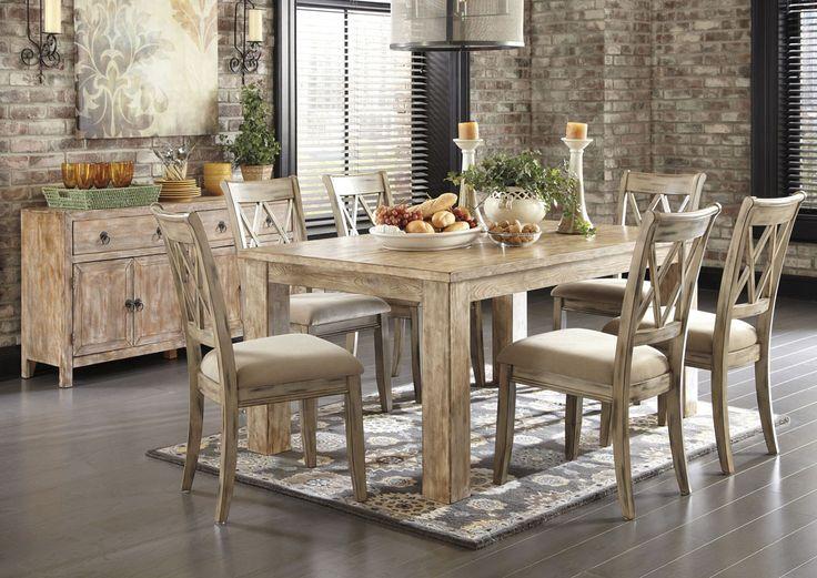 Michaela Driftwood Dining Set | Rustic kitchen tables ...