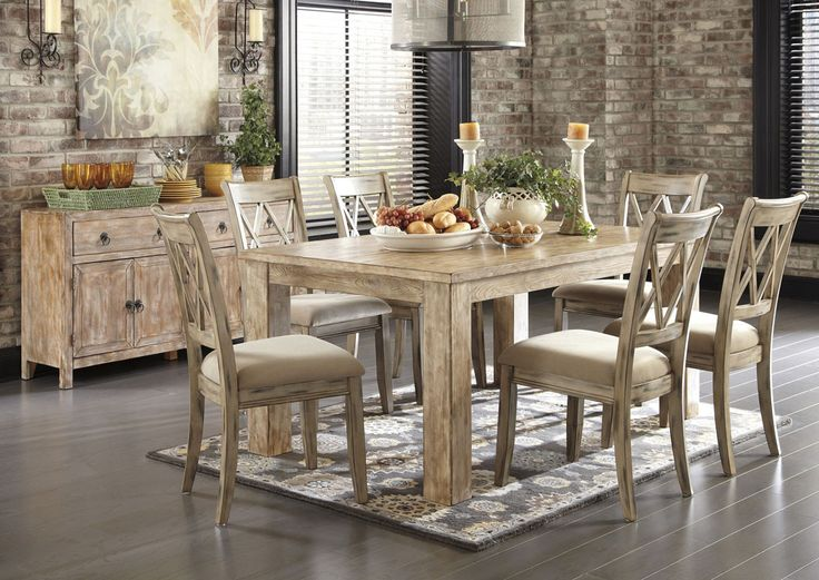 Jennifer Convertibles Mestler Washed Brown Rectangular Dining Table w/6 Antique White chairs