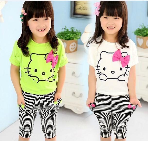 Розничная 2014 лето девочка костюм белый рукав летучая мышь hello kitty футболка + полосой брюки коллапс 2 шт. набор мальчиков девочек одежда набор