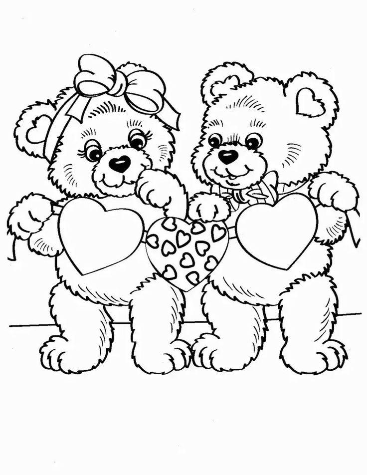Картинки мишка с сердечком раскраски