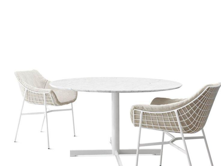 Cadeira estofada em aço Coleção Summer Set by Varaschin | design Christophe Pillet