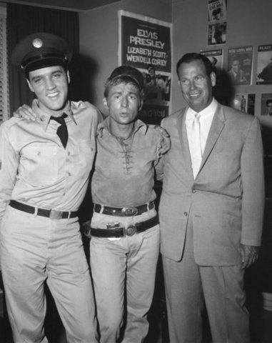 "Photo courtesy Elvis Presley Enterprises, Memphis Elvis Presley, actor Nick Adams and actor-deejay Dick Haynes posed for this studio set shot in 1960. Elvis was filming ""G.I. Blues"" at the time."
