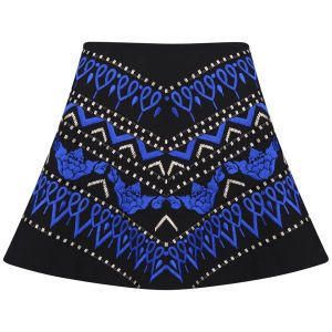 AnhHa Women's Embroidered Skater Skirt - Blue